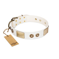 """Noble Impulse"" FDT Artisan White Leather Bulldog Collar Adorned with Antique Plates and Studs"