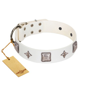 """Vanilla Ice"" FDT Artisan Handmade White Leather Bulldog Collar with Silver-like Adornments"