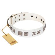 """Mister Perfection"" Designer Handmade FDT Artisan White Leather Bulldog Collar"