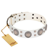 """Mighty Shields"" FDT Artisan White Leather Bulldog Collar with Chrome Plated Shields and Square Studs"