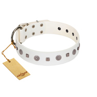 """Drops on Snow"" Handmade FDT Artisan White Leather Bulldog Collar Adorned with Silver-Like Studs"