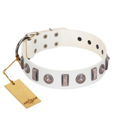 """Icy Spike"" Designer FDT Artisan White Leather Bulldog Collar with Silver-Like Decorations"