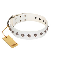 """Snowy Day"" Stylish FDT Artisan White Leather Bulldog Collar with Small Dotted Pyramids"