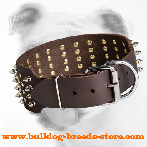Strong Buckle on Fashion Walking Spiked Leather Bulldog Collar