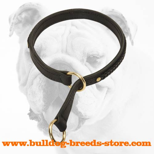 Fashionable Wide Braided Leather Bulldog Choke Collar