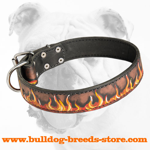 Genuine Leather Bulldog Collar with Flames