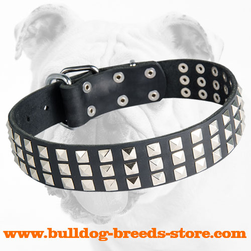 Extra Strong Leather Dog Collar with Pyramids for Bulldog Walking