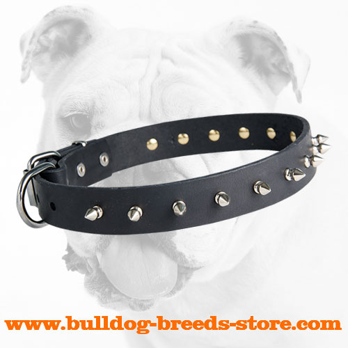 Durable Adjustable Walking Leather Dog Collar with Spikes for Bulldog