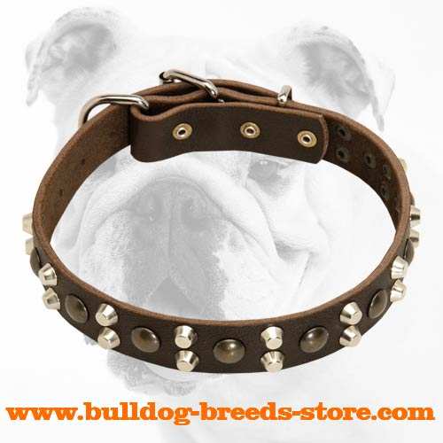 Super Strong Designer Walking Leather Bulldog Collar with Studs and Pyramids