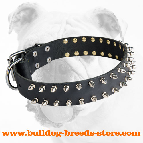 Durable Adjustable Walking Leather Dog Collar for Bulldog with Spikes