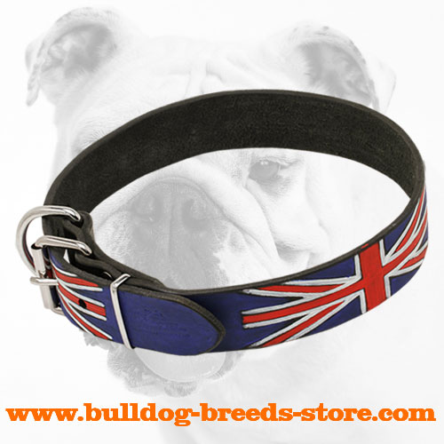 Exclusive Hand-Painted Leather Bulldog Collar with Strong Buckle
