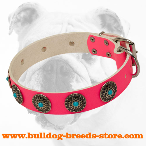 Stylish Walking Fashion Pink Leather Bulldog Collar