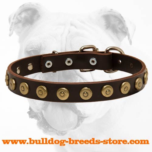 Durable Fashionable Walking Leather Dog Collar with Dotted Circles for Bulldog