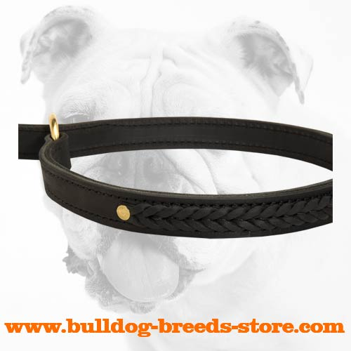 Reliable Walking Braided Leather Bulldog Choke Collar