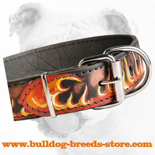 Rust Resistant Buckle on Leather Bulldog Collar Painted with Flames