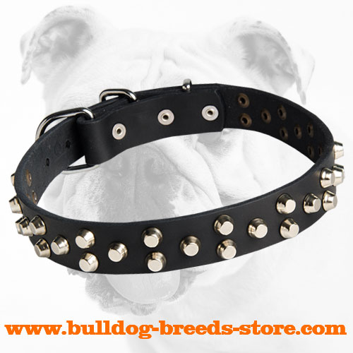 Fashionable Studded Leather Dog Collar for Bulldog