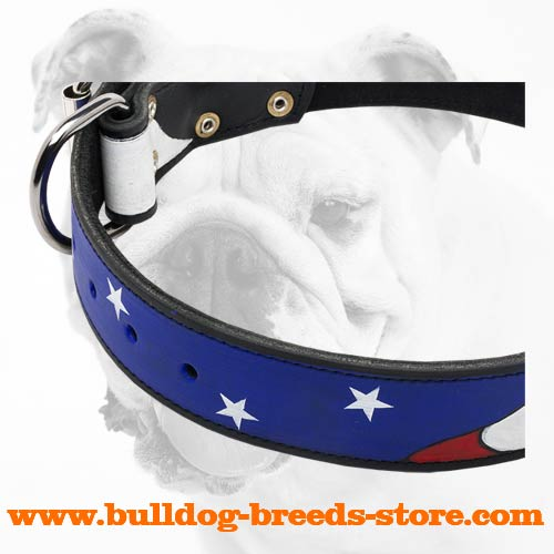 Painted American Pride Leather Bulldog Collar