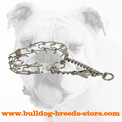Practical Chrome Plated Dog Pinch Collar Collar for Bulldogs