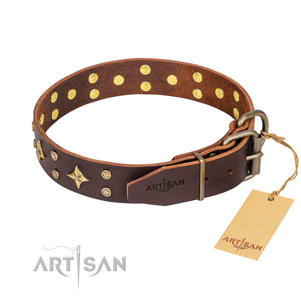 Daily walking full grain genuine leather collar with studs for your pet