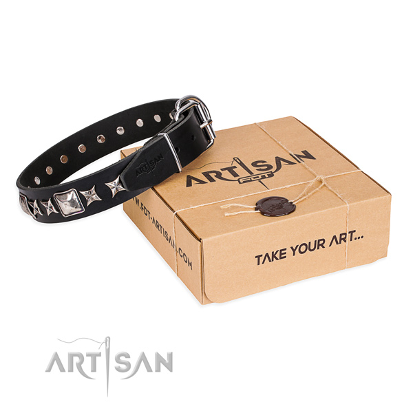 Adorned full grain leather dog collar for easy wearing