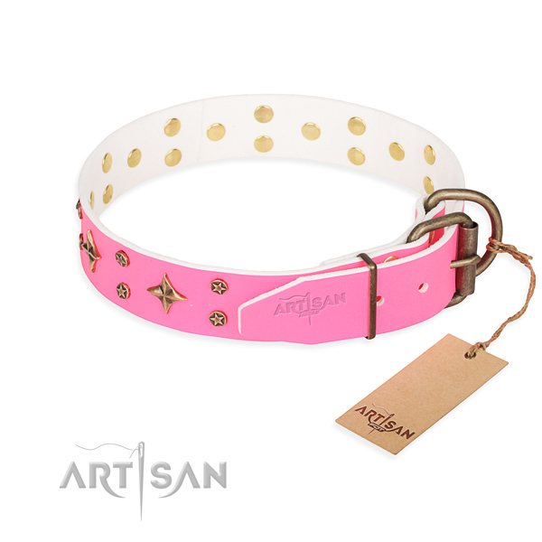 Handy use genuine leather collar with studs for your doggie