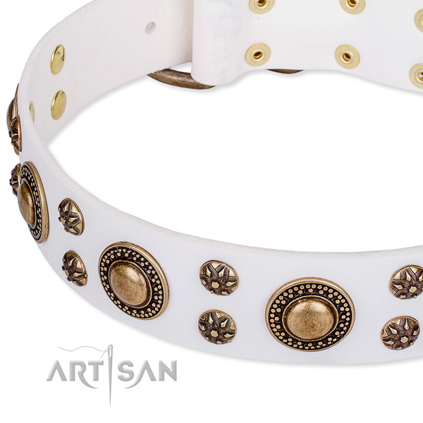 Leather dog collar with exquisite decorations