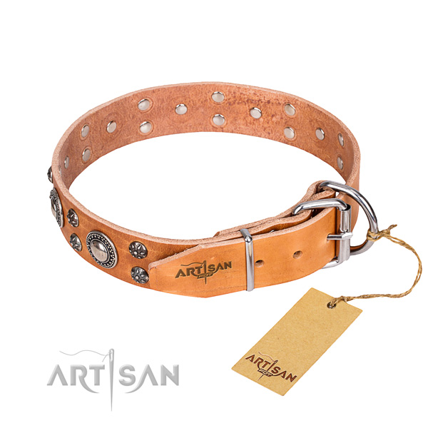 Handy use natural genuine leather collar with adornments for your dog