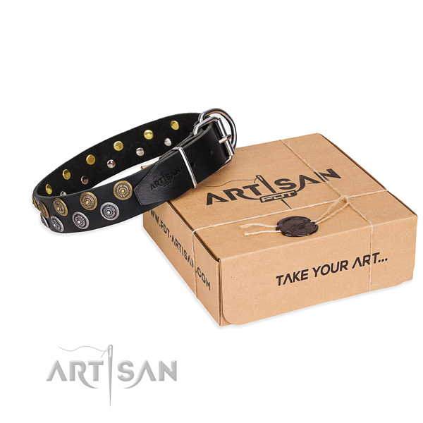 Full grain genuine leather dog collar with studs for  handy use