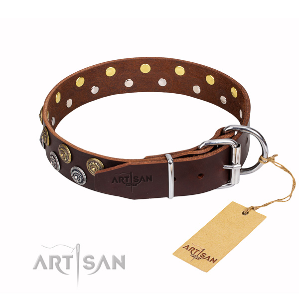 Handy use genuine leather collar with adornments for your dog