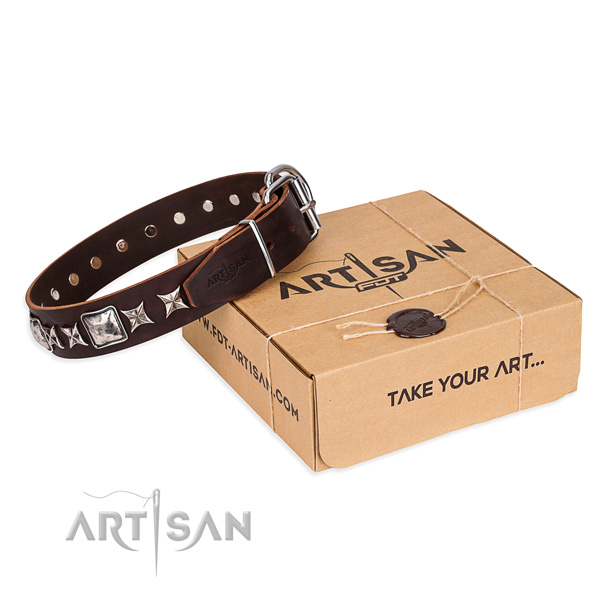 Decorated full grain genuine leather dog collar for comfortable wearing