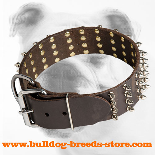 Adjustable Spiked Leather Bulldog Collar with Buckle