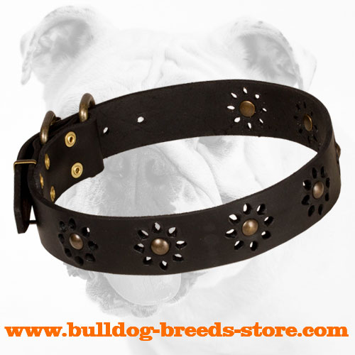 Stylish Adjustable Walking Black Leather Bulldog Collar