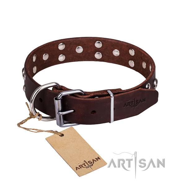 Leather dog collar with thoroughly polished edges for comfy strolling