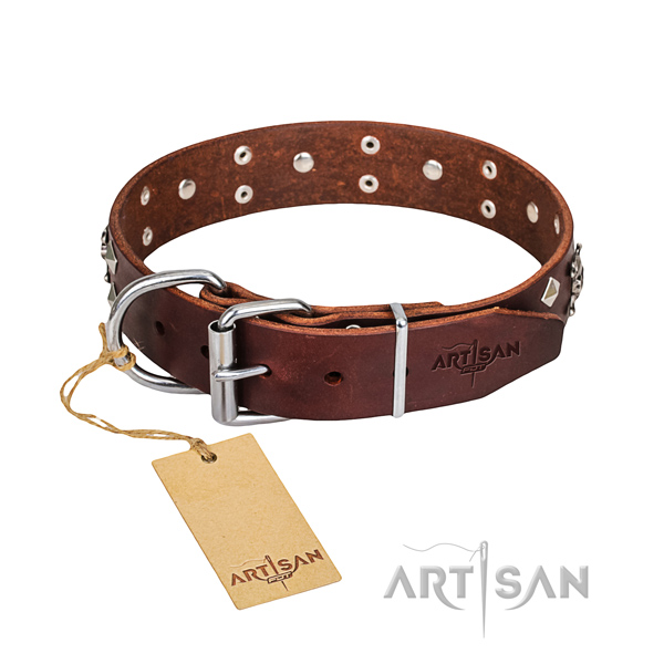 Heavy-duty leather dog collar with corrosion-resistant details