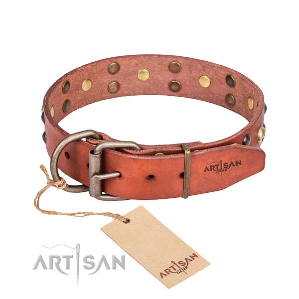 Leather dog collar with worked out edges for comfy everyday outing