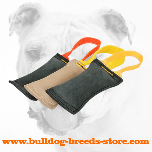 Tear Resistant Hand-Stitched Leather Dog Bite Tug for Bulldog