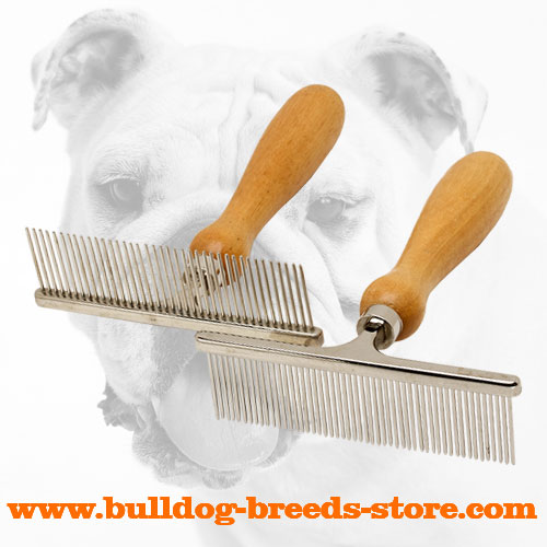 Chrome Plated Metal Dog Brush with Wooden Handle