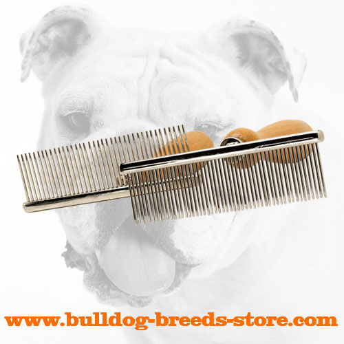 Chrome Plated Metal Dog Brush with Comfortable Wooden Handle