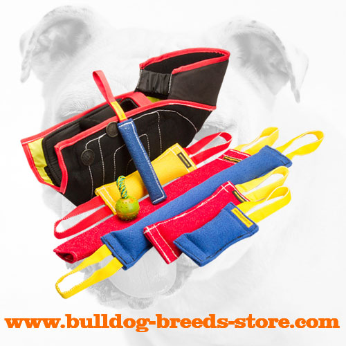 Strong French Linen Bulldog Set of Bite Tugs for Professional Training