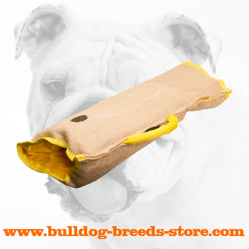 Comfortable Jute Bulldog Puppy Bite Sleeve with Handle