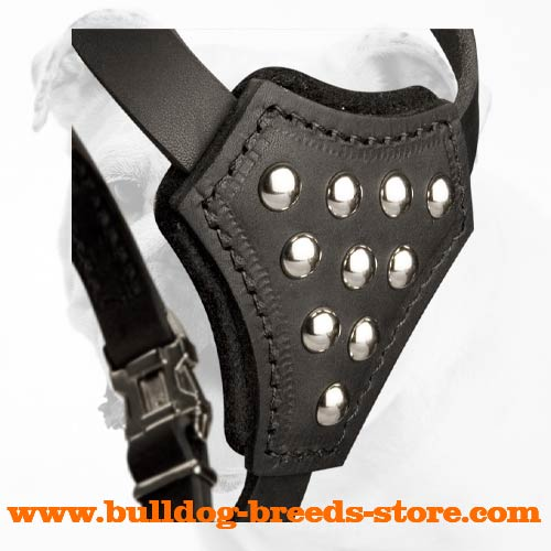 Adjustable Chest Plate of Walking Leather Bulldog Puppy Harness