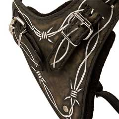 Barbed Wire Leather Bulldog Harness with Wide Chest Plate
