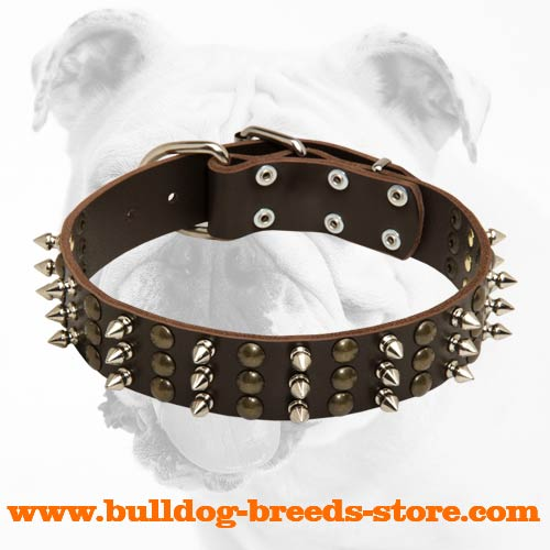 Royal Leather Bulldog Collar with Hand-Set Spikes and Studs