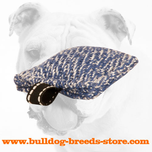 Hand-made Pocket Size French Linen Bulldog Bite Tug with a Small Loop