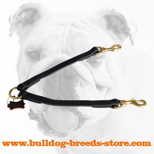 Stitched Leather Bulldog Coupler for Walking two Dogs