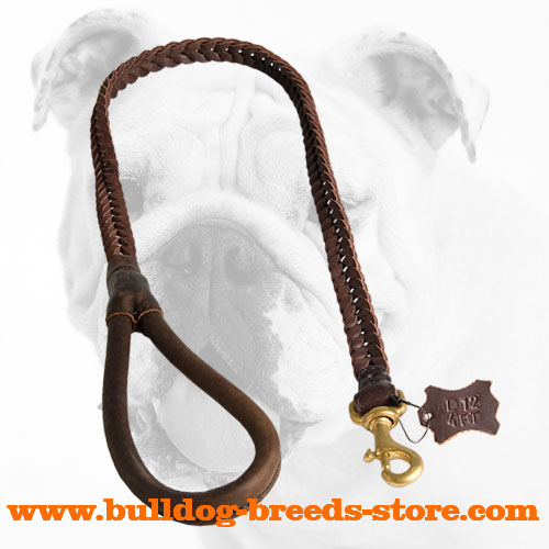 Premium Quality Braided Leather Bulldog Leash with Rounded Handle