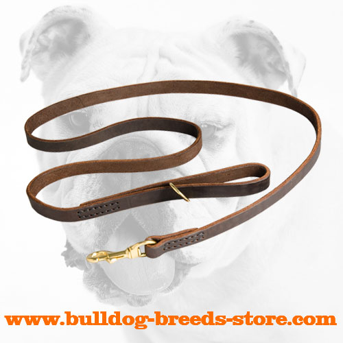 Hand-Made Properly Stitched Leather Bulldog Leash