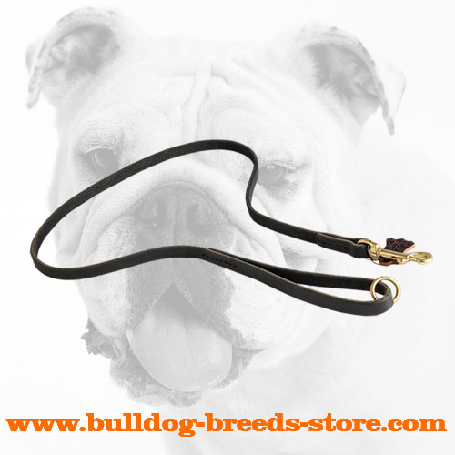 Hand-Made Leather Bulldog Leash for Daily Walking