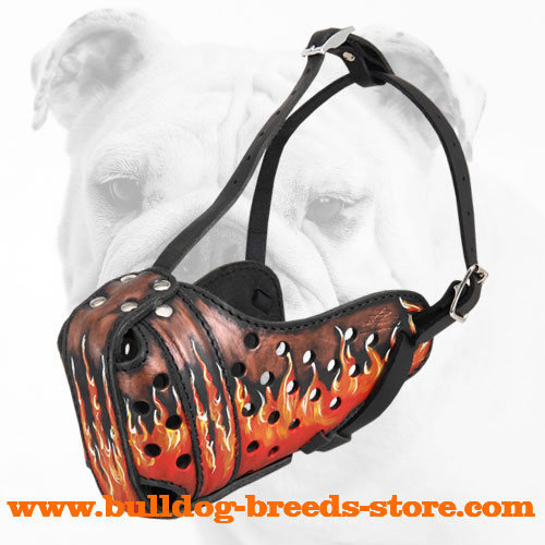 Hand-painted Leather Bulldog Muzzle with Flames