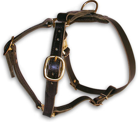 Bulldog Leather Dog Harness H7 for walking and tracking